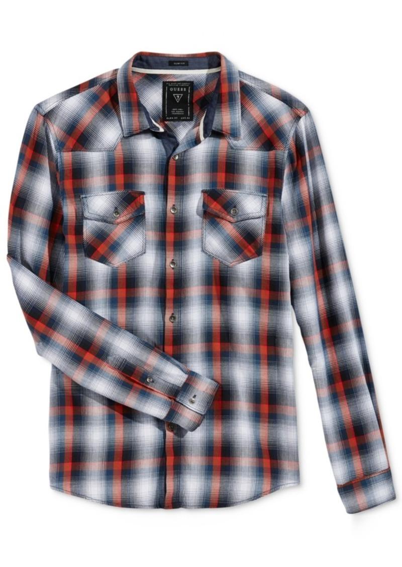 Guess Men's Long-Sleeve Jordan Plaid Western Shirt