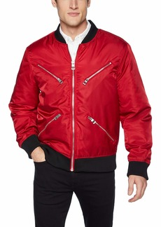 GUESS Men's Long Sleeve Kennith Zip Bomber Chili red S