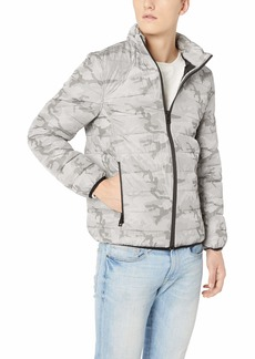 GUESS Men's Long Sleeve Liam Camo Puffer Jacket Traditional Snow Grey/Multi L