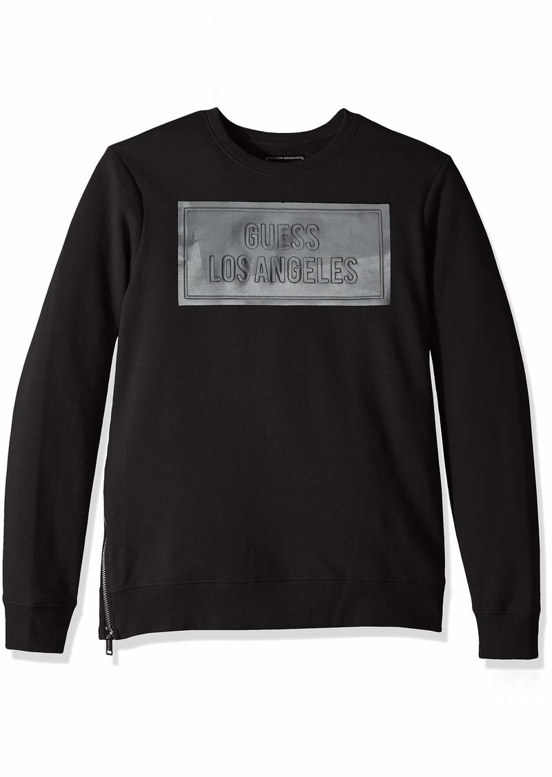 GUESS Men's Long Sleeve Logan Coated Crew Neck Shirt  L