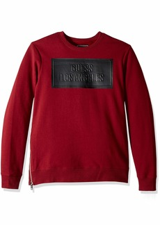 GUESS Men's Long Sleeve Logan Coated Crew Neck Shirt  S