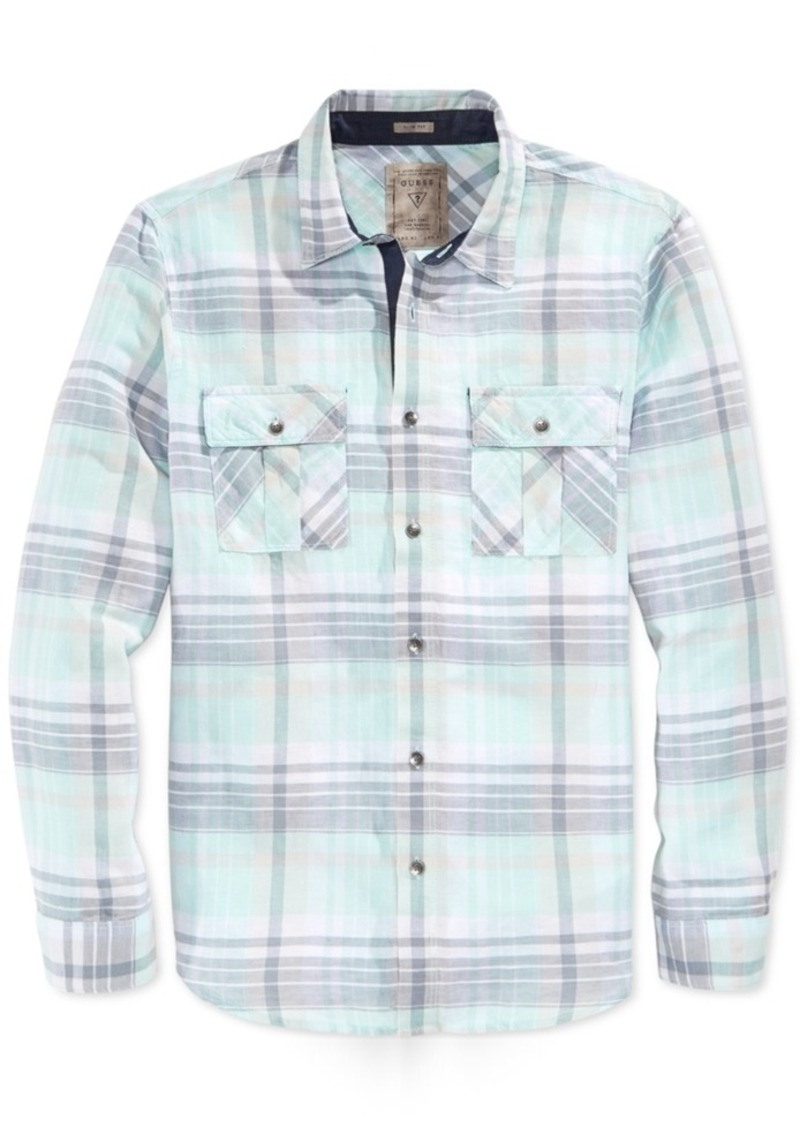 Guess Men's Long Sleeve Logan Plaid Slim Fit Shirt