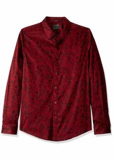 GUESS Men's Long Sleeve Luxe Floral Button Down Shirt Nouveau Pinot Noir M