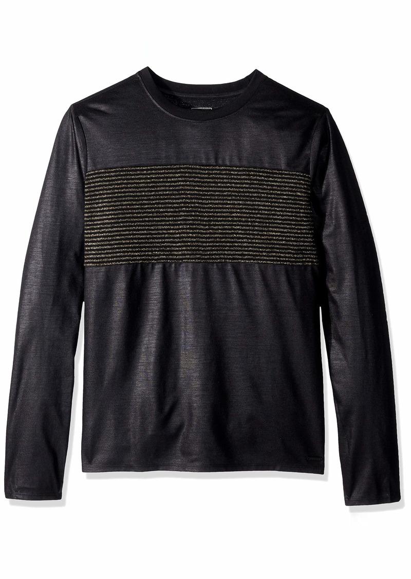 GUESS Men's Long Sleeve Mason Shine Crew Neck Shirt  a XL