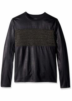 GUESS Men's Long Sleeve Mason Shine Crew Neck Shirt  XL