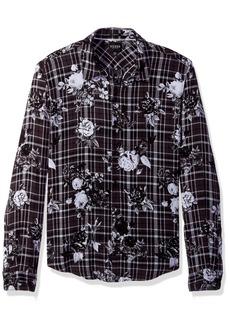 GUESS Men's Long Sleeve Mosh Floral Plaid Shirt Printed Jet Black