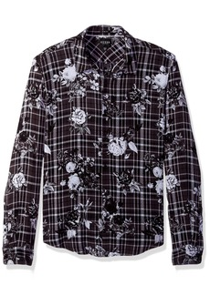 Guess Men's Long Sleeve Mosh Floral Plaid Shirt Printed Jet Black