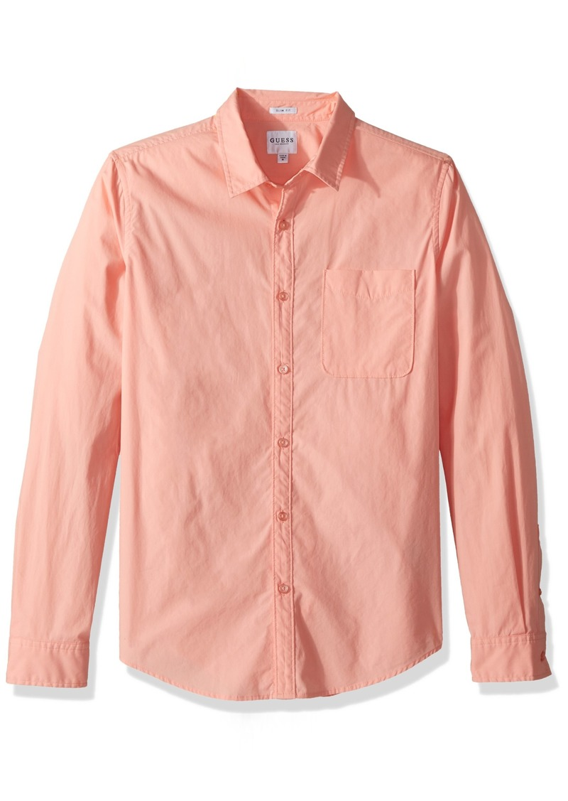 GUESS Men's Long Sleeve Paul Poplin 1 Pocket Shirt deep Peach XL