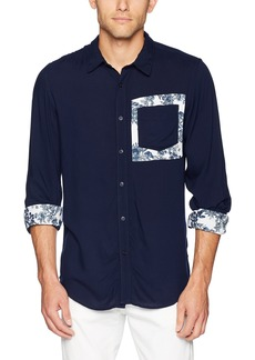 Guess Men's Long Sleeve Rayon Button Down Shirt cave Blue L