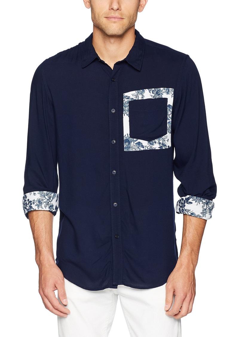 Guess Men's Long Sleeve Rayon Button Down Shirt cave Blue L