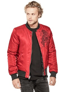 Guess Men's Long Sleeve Reversible Nylon Bomber Chili RED