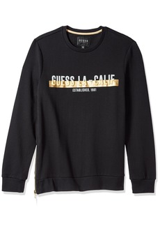 GUESS Men's Long Sleeve Roy Logo Zip