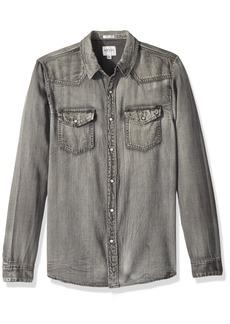 GUESS Men's Long Sleeve Slim Western Shirt Adventure Grey wash S