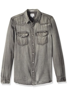 GUESS Men's Long Sleeve Slim Western Shirt Adventure Grey wash L