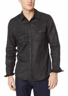 Guess Men's Long Sleeve Slim Western Shirt Mechanical Black wash L