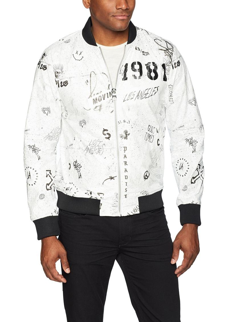 GUESS Men's Long Sleeve Tyvek Graffiti Bomber Print White M