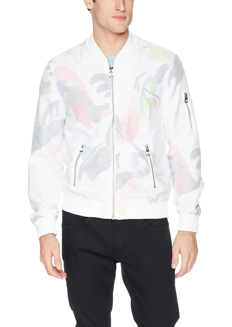 GUESS Men's Long Sleeve Voile Pop Art Bomber Jacket  L