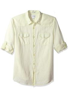 GUESS Men's Long Sleeve Walker Linen Western Shirt with Roll Tab  L