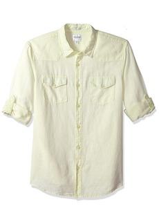 GUESS Men's Long Sleeve Walker Linen Western Shirt with Roll Tab  S