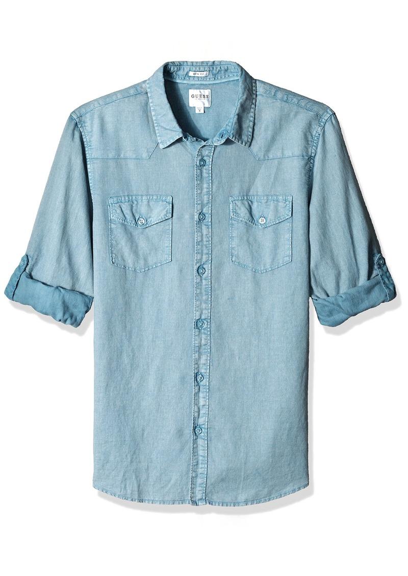 GUESS Men's Long Sleeve Walker Linen Western Shirt with Roll Tab  XL
