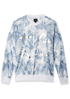 GUESS Men's Long Sleeve Wynn Palm Print Crew Sunset White M
