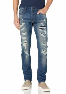 GUESS Men's Low Rise Slim Fit Tapered Leg Ripped Jean  36W X 32L
