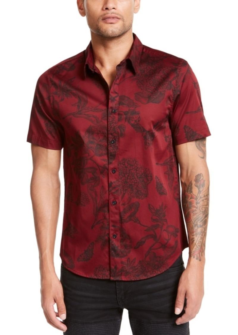 Guess Men's Luxe Baroque Floral Pattern Short Sleeve Shirt