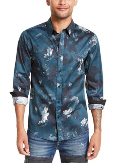 Guess Men's Luxe Melting Floral Pattern Shirt