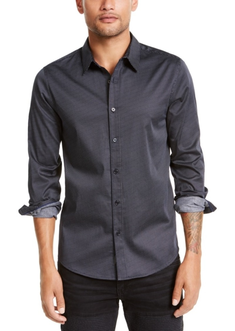 Guess Men's Luxe Pixel Geometric Pattern Shirt