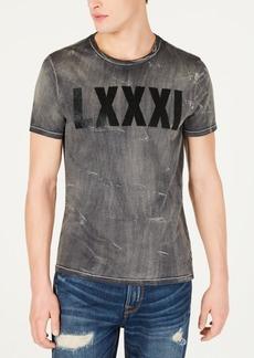 GUESS Mens Silas Indigo Block Slit Neck T-Shirt