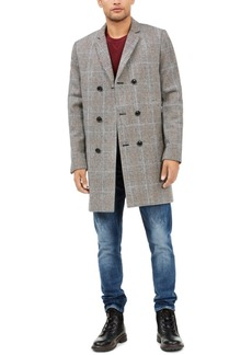 Guess Men's Marmont Plaid Double Breasted Overcoat