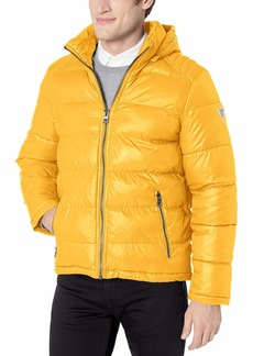 GUESS Men's Mid-Weight Puffer Jacket with Removable Hood