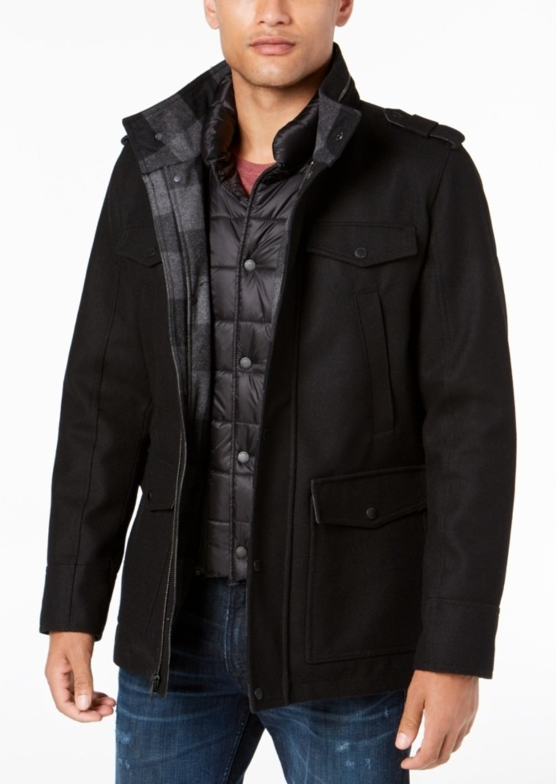Guess Guess Men S Military Inspired Coat With Plaid Detail