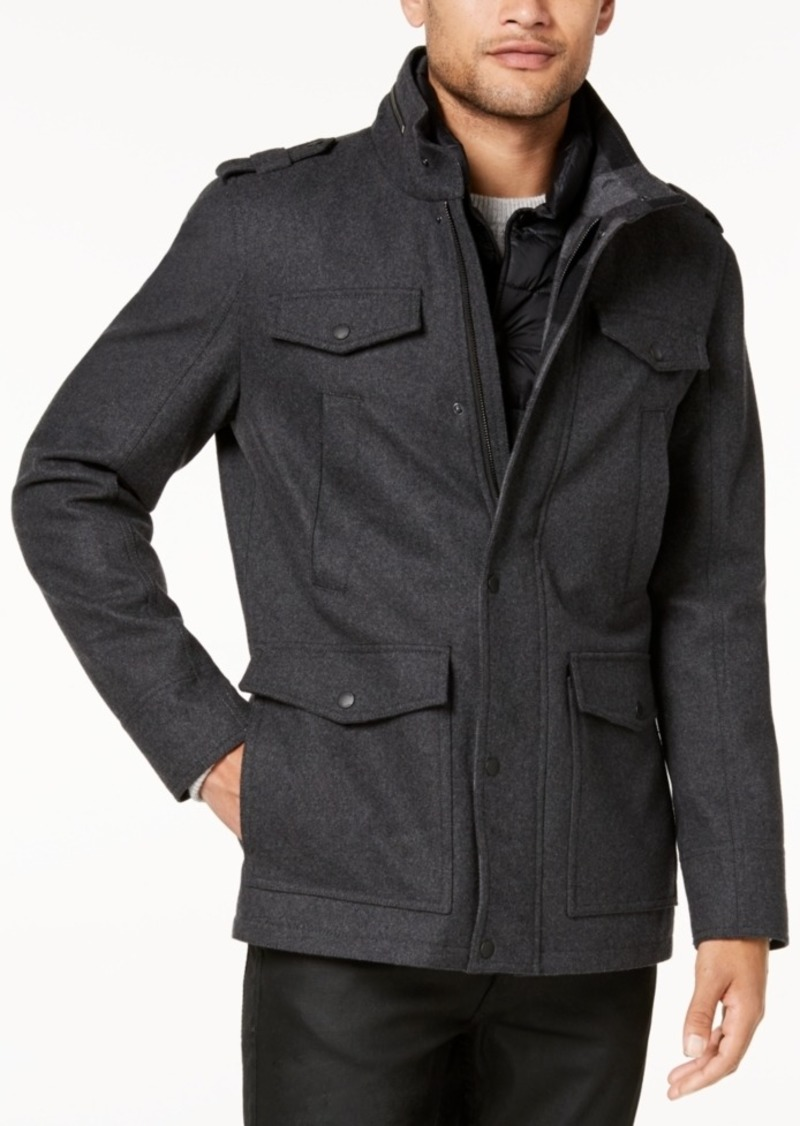 Image result for GUESS Men's Military-Inspired Coat with Plaid Detail