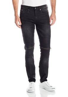 GUESS Men's Moto Zip Slim Taper Trapper Black Wash Jean Destroy
