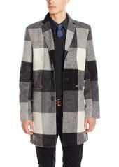 GUESS Men's Onyx Check Wool Long Coat Jacket  L R