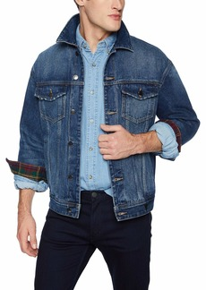 GUESS Men's Oversized Denim Jacket Plaid Indigo wash XXL