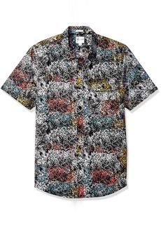 GUESS Men's Painterly Print Shirt Jet Black L