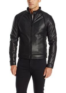 GUESS Men's Mixed Punched PU Biker Jacket
