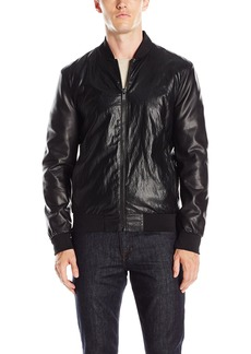 GUESS Men's Perforated Faux Leather Bomber Jacket
