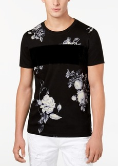 Guess Men's Pieced Velvet-Stripe Floral-Print T-Shirt