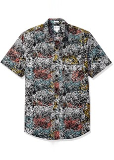 GUESS Men's Painterly Print Shirt Jet Black M