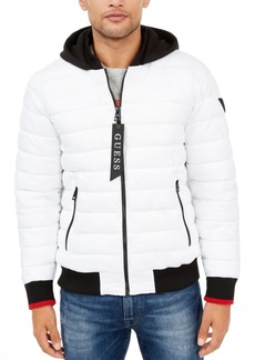 Guess Men's Quilted Bomber with Jersey Hood