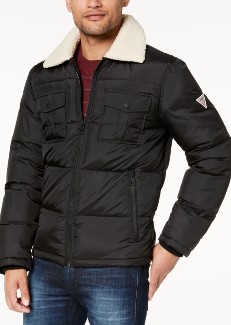 Guess Men's Quilted Jacket with Fleece Collar