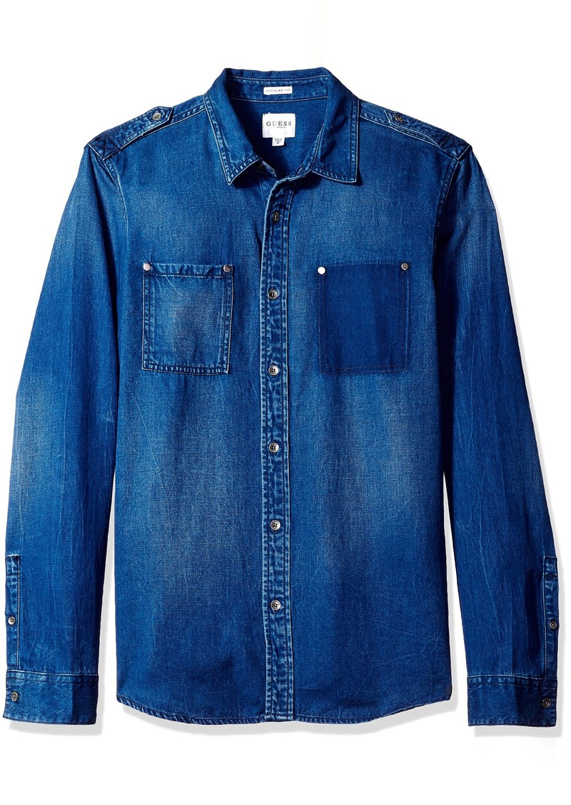 GUESS Men's Regular Fit  Denim Shirt L