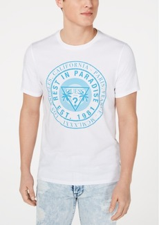 fdbe47797 GUESS Guess Men's Pieced Velvet-Stripe Floral-Print T-Shirt   T Shirts