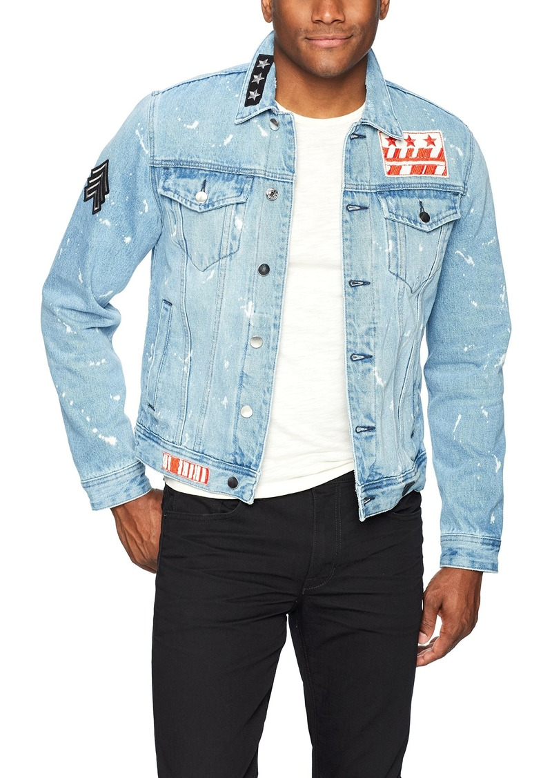 GUESS Men's Rex Denim Jacket with Beaded Sleeve Oasis Blue wash S