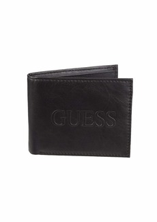 Guess Men's RFID Security Blocking Leather Wallet black emboss