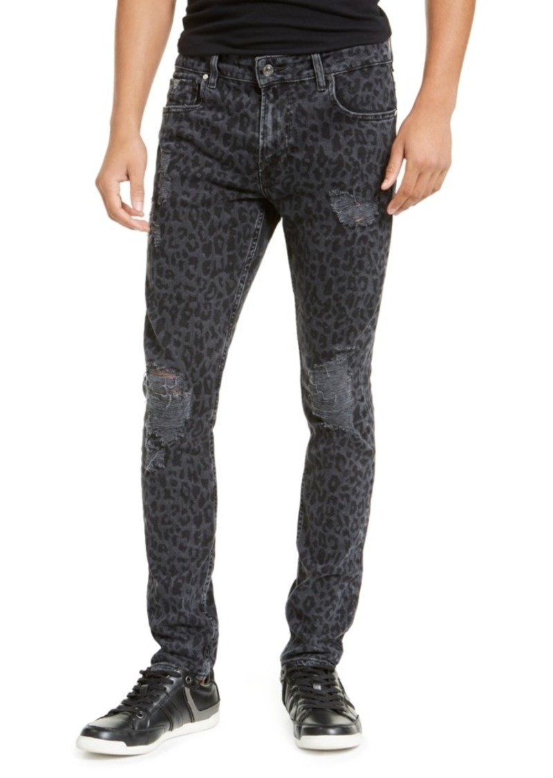 Guess Men's Ripped Leopard Skinny Jeans
