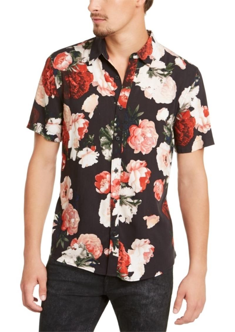 Guess Men's Rogan Blackout Floral Short Sleeve Shirt
